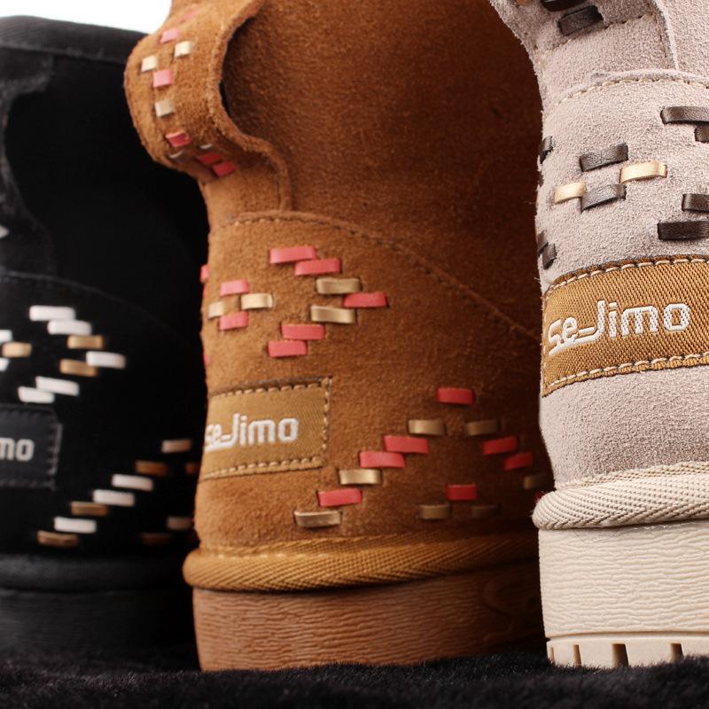 歐美款厚底編織雪地靴女平跟短筒保暖棉鞋獨家限定真皮平底加厚加絨短靴波西米亞風