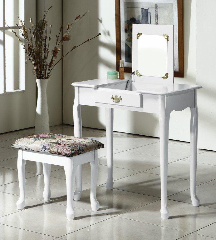 【石川家居】OU-662-13 純白實木化妝台+椅 (不含其他商品) 需搭配車趟