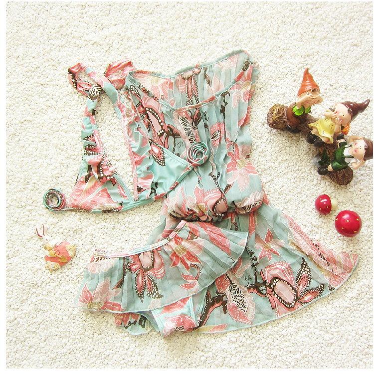 韓國可愛印花兒童遊泳衣 女童比基尼三件套分體嬰兒寶寶泳裝