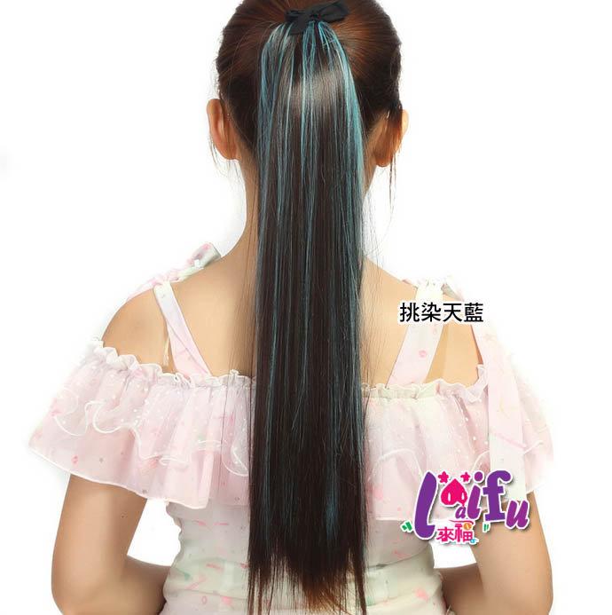 來福,H259假馬尾直髮彩色挑染彩色綁帶式長髮假髮馬尾,售價240元