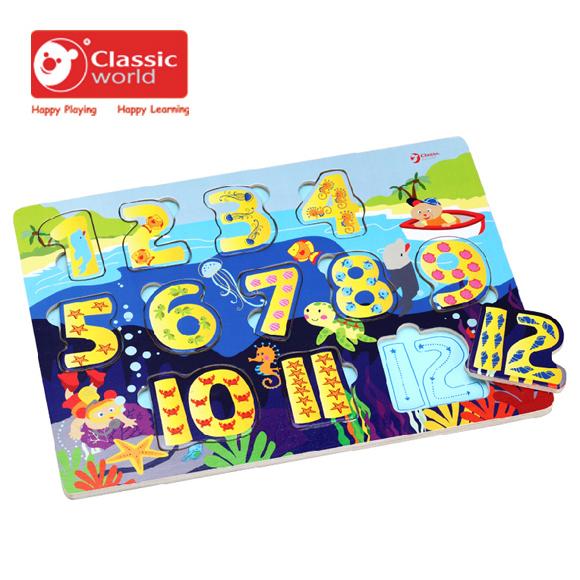 【德國 classic world】客來喜木頭玩具 數字配對拼圖 CL3548