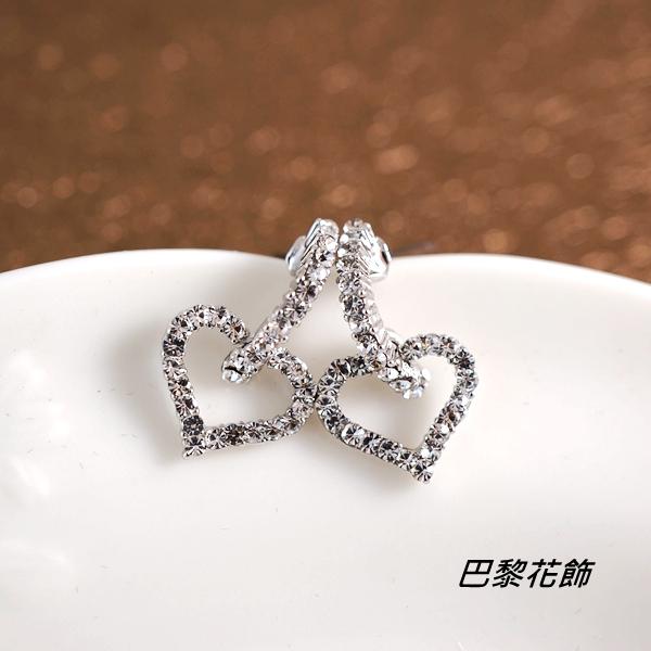 雪白甜心 甜美亮眼水晶耳環【巴黎花飾】