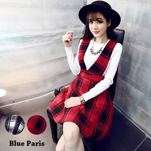 裙子 - 英倫風復古格子毛呢吊帶裙【23320】藍色巴黎《2色》現貨 + 預購
