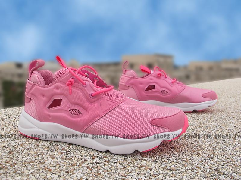 Shoestw【AQ9504】Reebok FuryLite 粉紅 草莓牛奶 襪套 大童 女生可穿