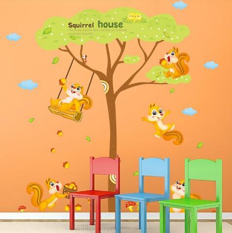 WallFree窩自在★DIY無痕壁貼/牆貼-XL9009AB-松鼠之家