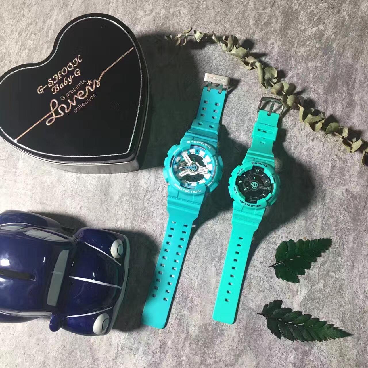 國外代購CASIO G-SHOCK GA-110SN3A & BABY-G BA-111 情侶對錶 雙顯 防水手錶
