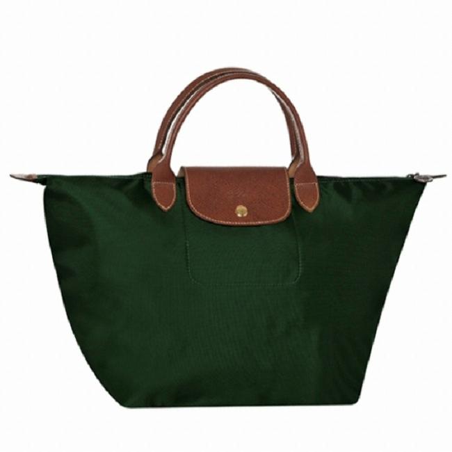 [1623-M號] 國外Outlet代購正品 法國巴黎 Longchamp 短柄 購物袋防水尼龍手提肩背水餃包 墨綠色