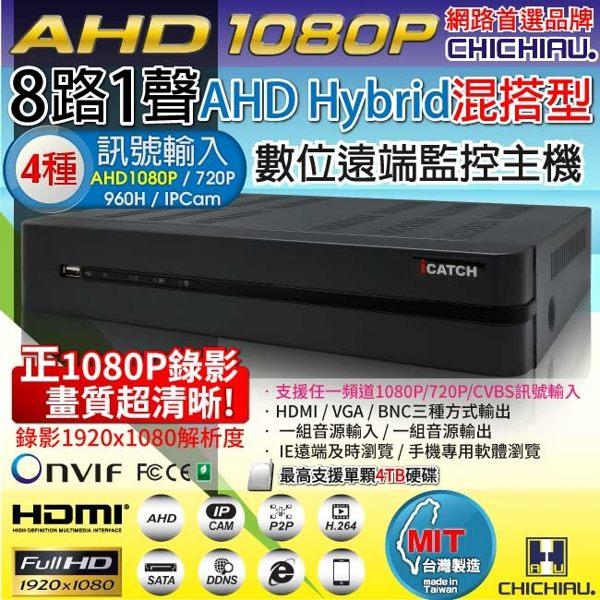 弘瀚--【CHICHIAU】8路AHD 正1080P台製iCATCH數位高清遠端監控錄影主機-DVR