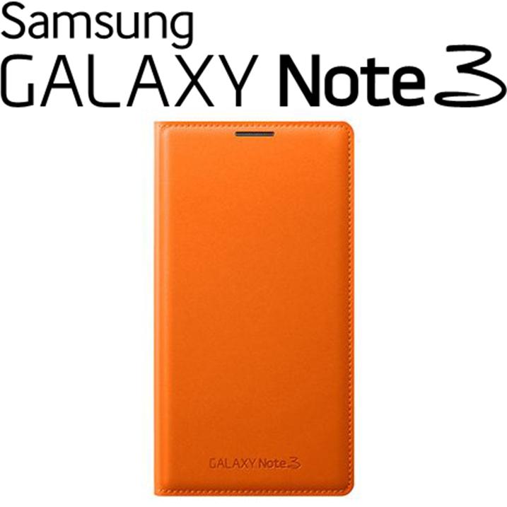 SAMSUNG GALAXY NOTE3 N9000原廠翻頁式皮套 側掀手機皮套【盒裝】橘色
