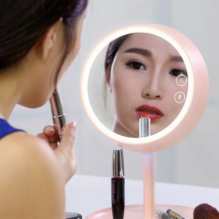 新款 炫彩LED化妝鏡檯燈(圓形) 可調整亮度 梳妝鏡 鏡子 充電式 補光燈 化妝燈【N202130】