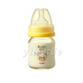 【悅兒樂婦幼用品舘】Combi 康貝 Kuma Kun 寬口耐熱玻璃哺乳瓶120ml (黃) ~新品上市~