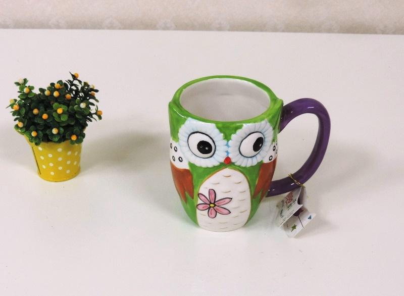 ◤彩虹森林◥ 彩色陶瓷貓頭鷹馬克杯 水杯 福鳥 亮彩貓頭鷹 花器 送禮