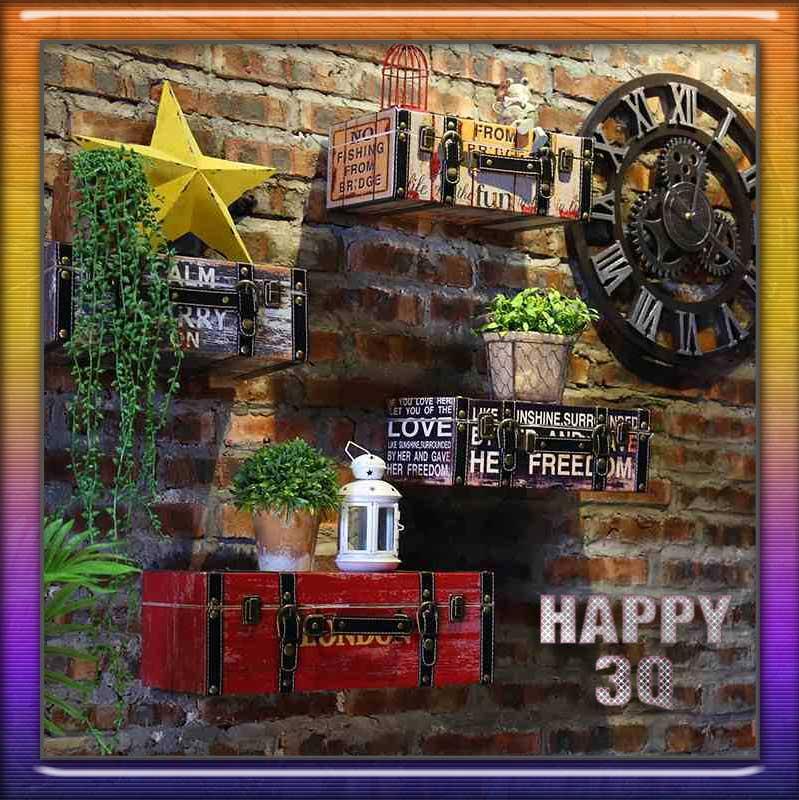 復古懷舊美式鄉村仿真皮立體行李箱餐廳酒吧咖啡館自家裝潢牆面裝飾小款-多款【AAA0736】