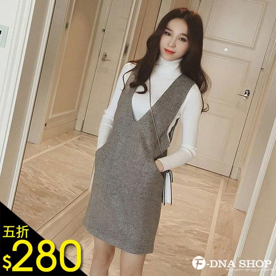 F-DNA★前後大V領毛呢背心裙洋裝(3色-M-XL)【ESV1766】