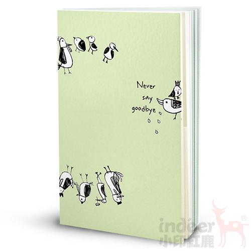 【indéer小印紅鹿】空白+格紋手札 超輕手感 獨家封面插畫 手工製作  │ 喳喳鳥-綠