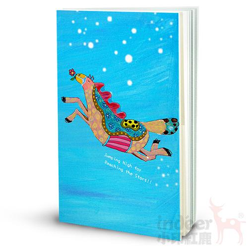 【indéer小印紅鹿】空白+格紋手札 超輕手感 獨家封面插畫 手工製作  │ 藍飛馬