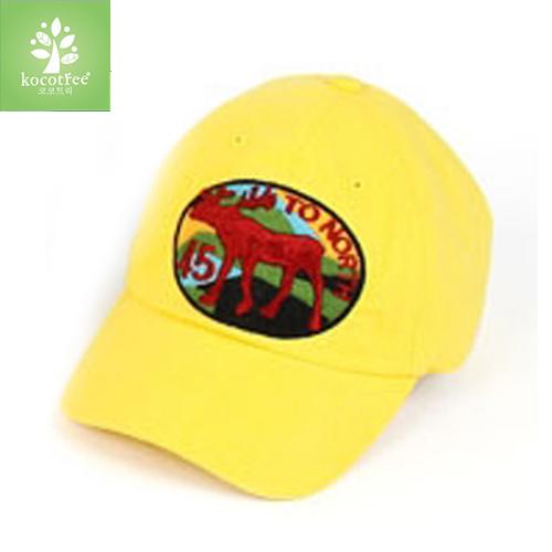 Kocotree◆五角星麋鹿質感刺繡棒球帽-黃色