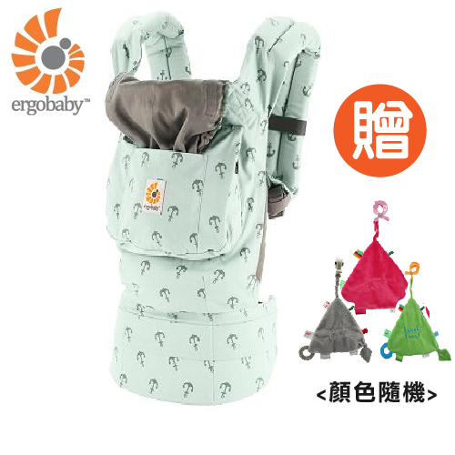 【 贈三角固齒安撫巾 】美國【 Ergobaby 】原創基本款嬰兒揹巾-海藍艦隊
