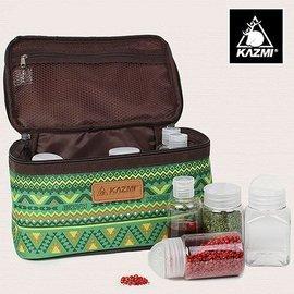 【【蘋果戶外】】KAZMI K5T3K002GN 經典民族風調味料收納袋(L) 綠色 調味罐/保護提袋/野餐調味包