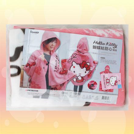 [敵富朗超市]HELLO Kitty蝴蝶結甜心帽毯