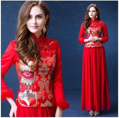 天使嫁衣【AE447】紅色冬季長袖兩件式旗袍長禮服˙預購訂製款