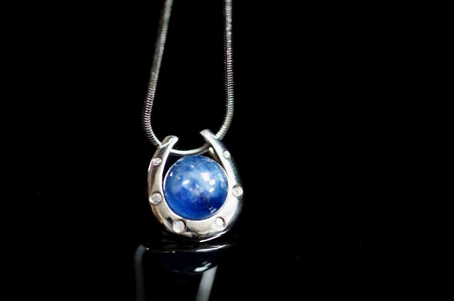 【喨喨飾品】藍晶石馬蹄型純銀墜 M317