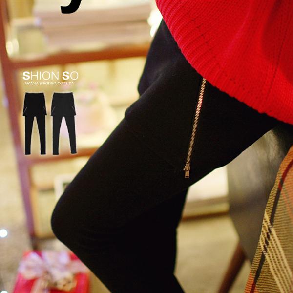 享瘦衣舍中大尺碼【B2001】兩側拉鍊造型短裙拼接內搭褲