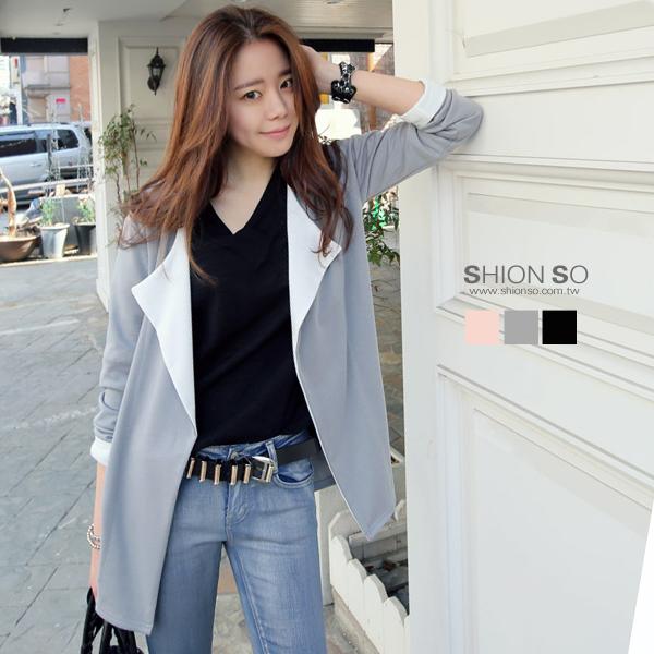 享瘦衣舍中大尺碼【B3067】翻領雙色風衣式外套