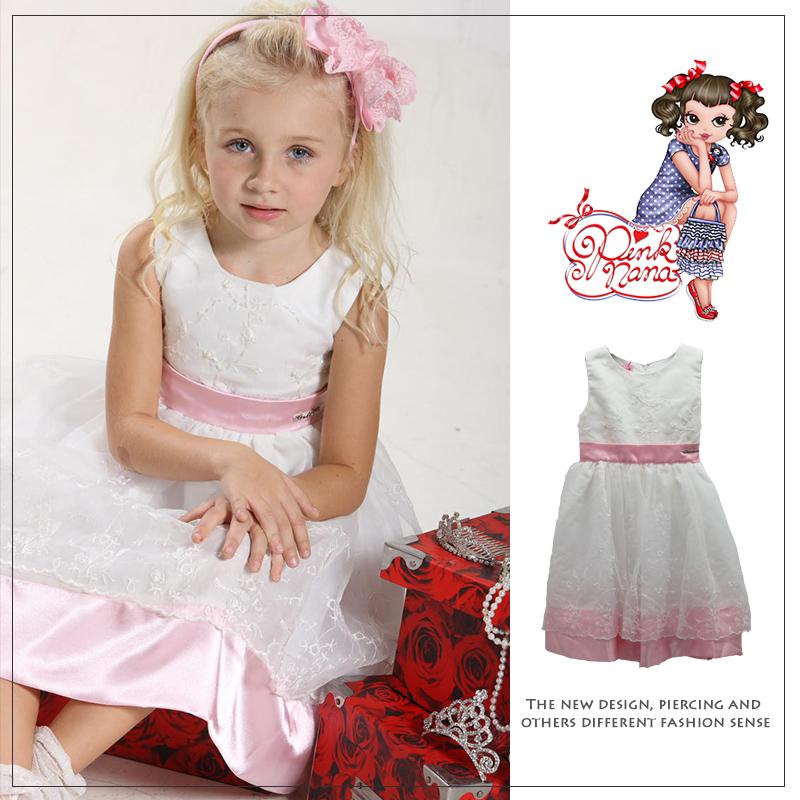 PINKNANA童裝 女童繡花造型白紗禮服21307