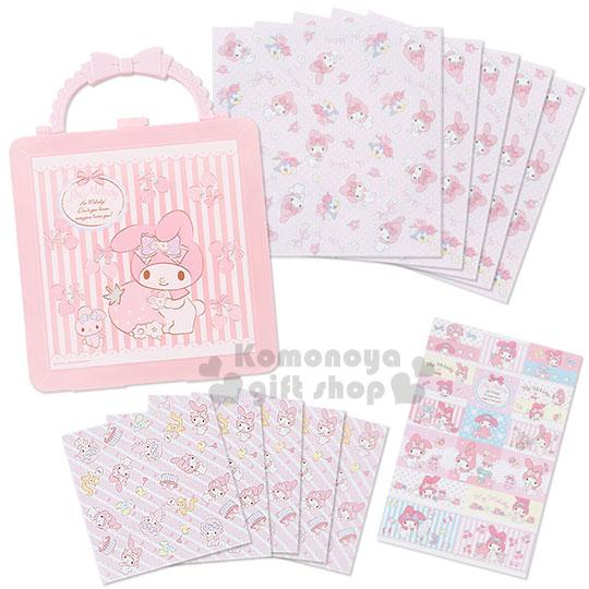〔小禮堂〕美樂蒂 附提盒便條紙組《粉條紋.玩偶.草莓》