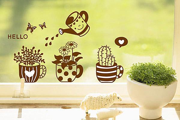 BO雜貨【YV2725】創意可移動壁貼 牆貼 背景貼 時尚組合壁貼樹 璧貼 磁磚貼 咖啡盆栽