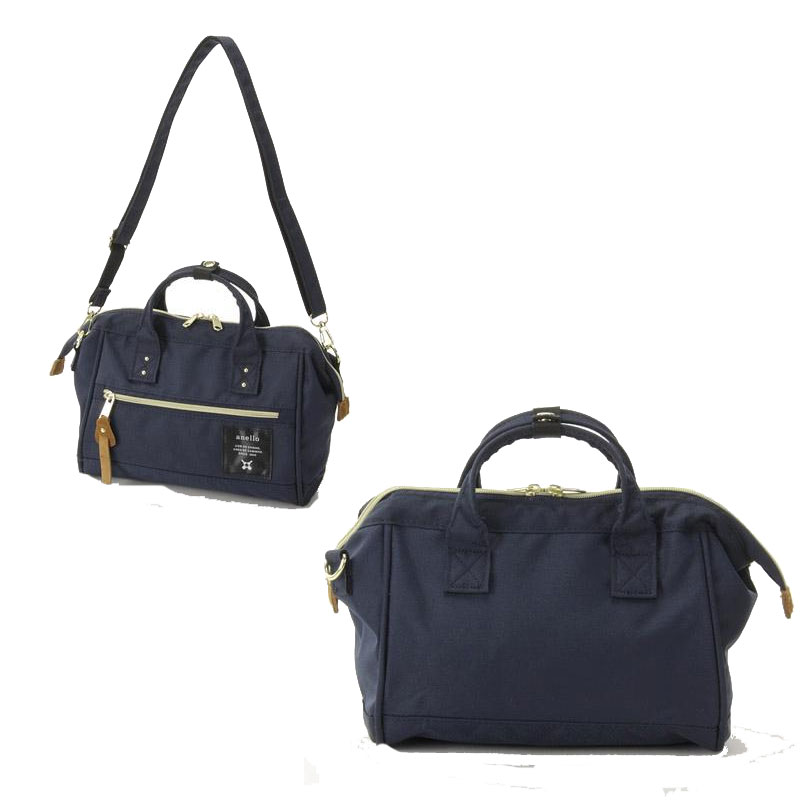 anello 深藍色 小側背手提兩用包 日本帶回正版 帆布水洗 A5放的下! AT-H0851