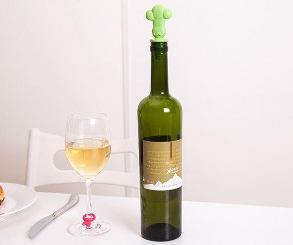 創意食品級矽膠保鮮酒瓶塞酒杯識別扣識別器紅酒塞套裝  69元