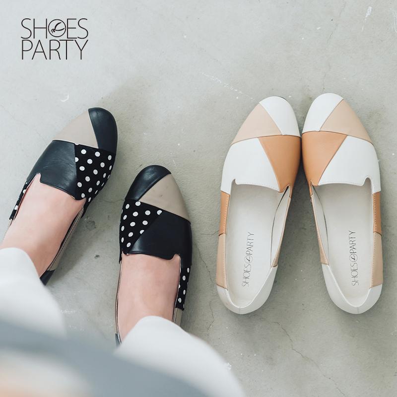 【C2-16202L】皮革拼接經典歐貝拉_Shoes Party