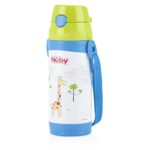 『121婦嬰用品』Nuby不鏽鋼真空真空背帶水壺-長頸鹿(細吸管) 360ml