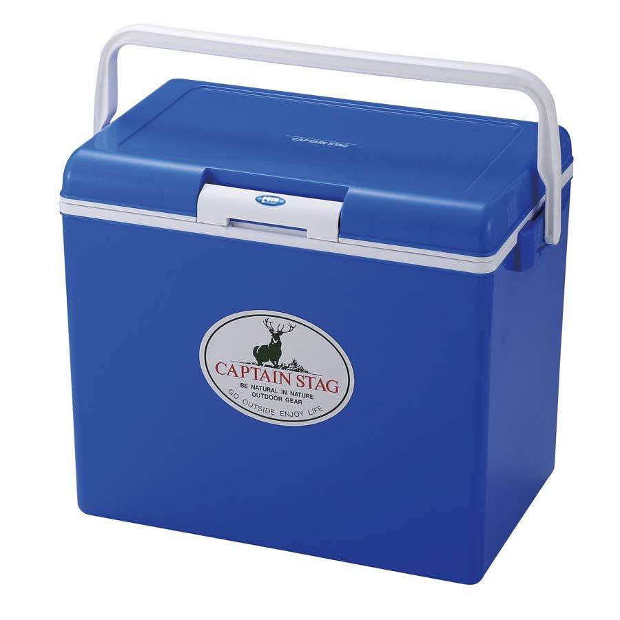 【【蘋果戶外】】Captain Stag M-8179 30L野餐輕便冰桶 日本鹿牌 行動冰箱/保鮮桶/保冷保冰 附背帶、可手提攜帶 藍色