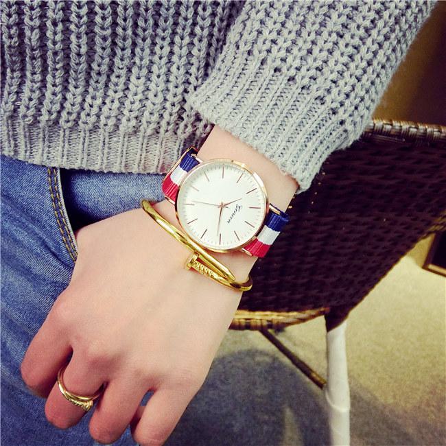 50%OFF【H014051WAH】英倫潮流韓版簡約帆布手錶歐美復古超薄時尚韓國學生男女情侶腕錶附錶盒