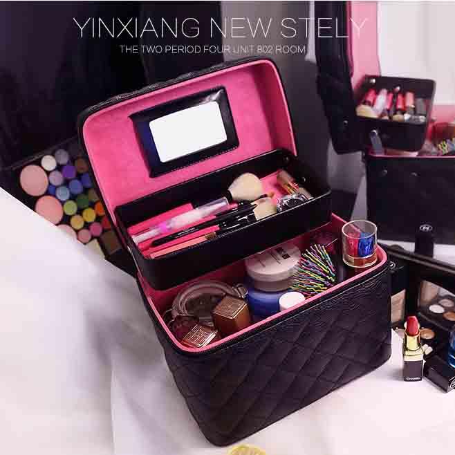 韓國大容量手提雙層化妝箱 化妝包 收納箱 旅行箱 新秘 新娘