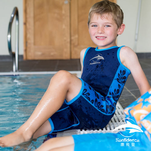兒童游泳防寒衣 水藍棕櫚 |康飛登 KONFIDENCE 歐洲嬰幼兒功能泳裝領導品牌 [樂游小舖]