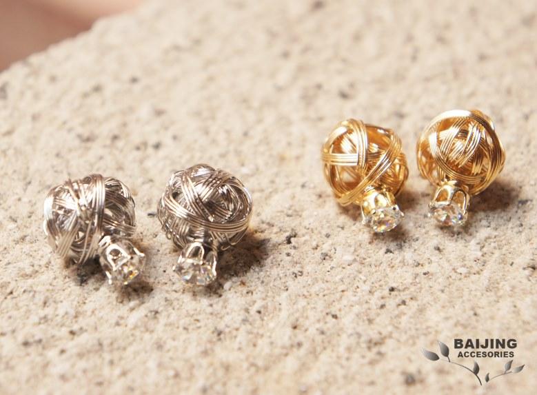 2047306韓國熱銷大力丸系列【金屬網狀編織】後扣式兩用鋼針耳環 共2色