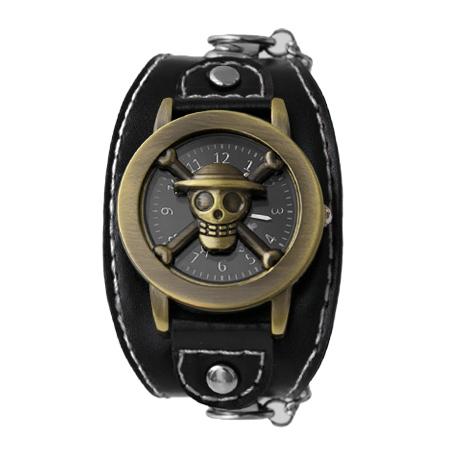 One Piece 海賊王 經典骷髏開蓋式雅痞造型鎖鍊手錶 黑色皮革 柒彩年代【NE1760】原廠平行輸入