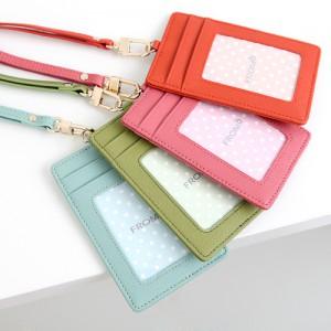 正韓國真皮防刮牛皮頸掛卡片證件套識別證套 藍綠桃玫粉紅橙色黑色金色現貨