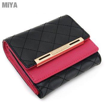 正韓國真皮菱格紋雙色水鑽女生皮夾短夾(牛皮) 黑紅色 現貨