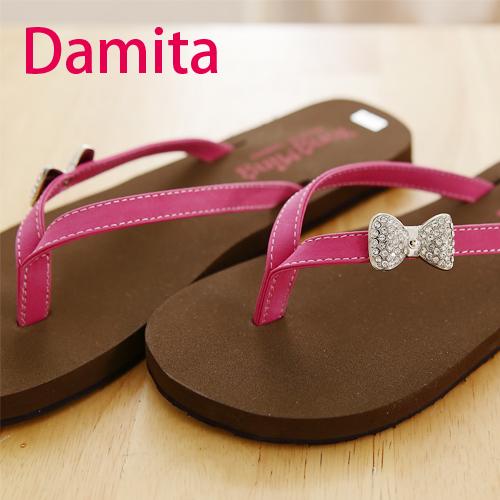 夾腳拖鞋-Damita - 朵結亮鑽夾腳美拖鞋 ( 3色) 現+預