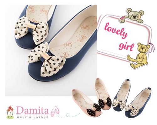 Damita 圓點朵結金釦飾平底娃娃鞋  ( 粉 / 藍  二色 )