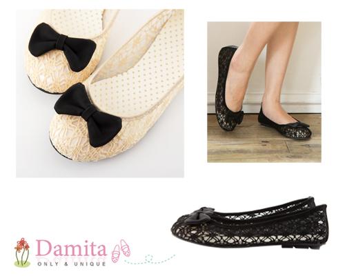 Damita   優雅芭蕾縷空蕾絲朵結平底娃娃鞋  ( 黑 / 米  2色 )