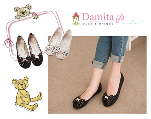 Damita 圓點朵結金釦飾平底娃娃鞋  ( 黑 / 米  二色 )