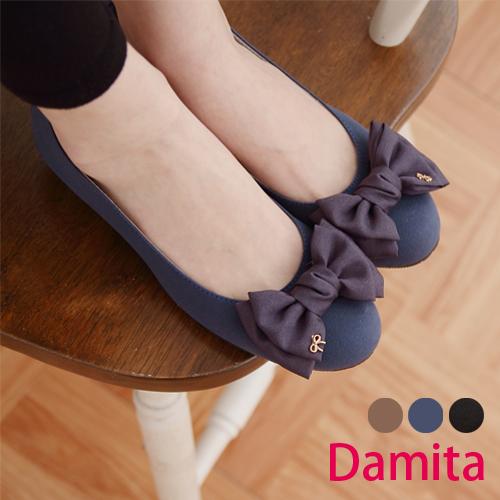 Damita  雪紡大朵結絨質造型低跟娃娃鞋 ( 黑色 23~25 )