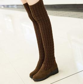 ☼zalulu愛鞋館☼ JE067 現貨 韓版多穿法毛線針織反折低跟圓頭長筒過膝長靴-偏小-黑/褐-36-40