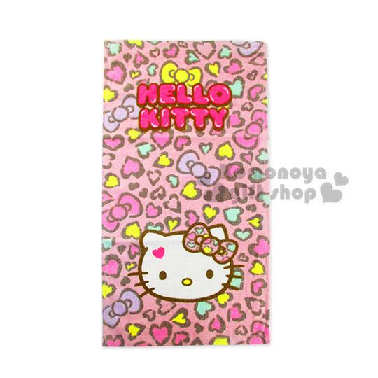 〔小禮堂〕Hello Kitty 兒童毛巾《M.粉豹紋滿版.大臉》100%棉.28*54(cm)